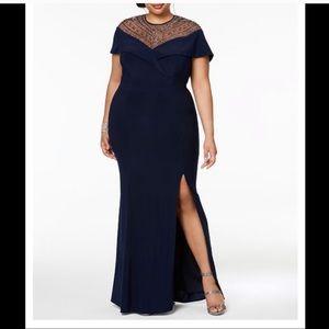 XACAPE Beaded Blue Evening Gown